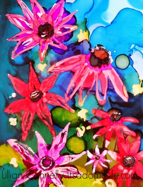 Lillian Connelly - First attempt at painting Cone Flowers 9x12 alcohol inks on Yupo paper.