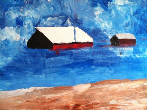 Work in progress Red Barn landscape painting by Lillian Connelly.
