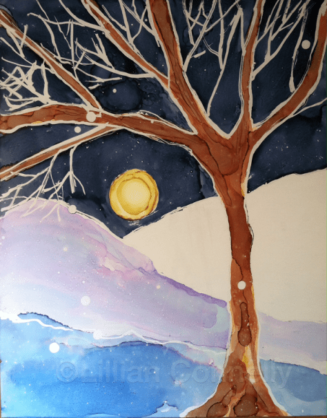 Snow In The Moonlight Day 23 of 30 Paintings In 30 Days