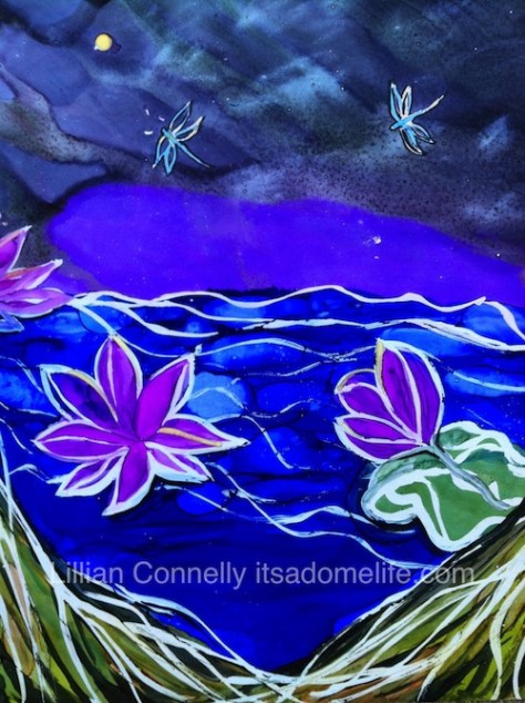 Water Lilies Fantasy Landscape Painting by Lillian Connelly