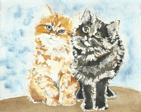 Cats Painted In Watercolor Day 2 Spetember 2016