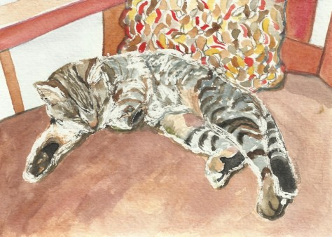 Cats Painted In Watercolor Day 15 September 2016