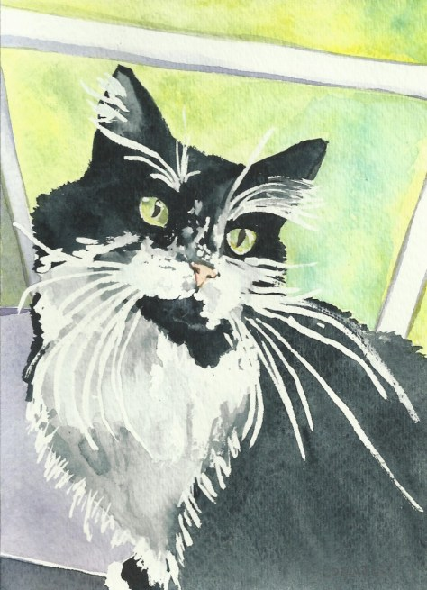 Cats Painted In Watercolor Day 22 September 2016.