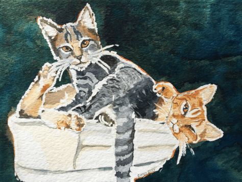 Cats Painted In Watercolor Day 29 September 2016.