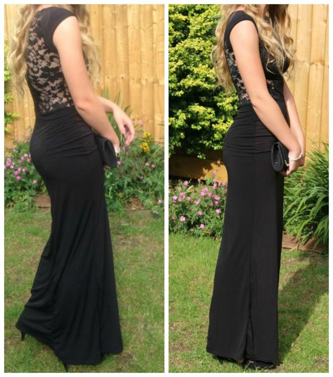 Boohoo Maddie lace back front thigh split maxi dress