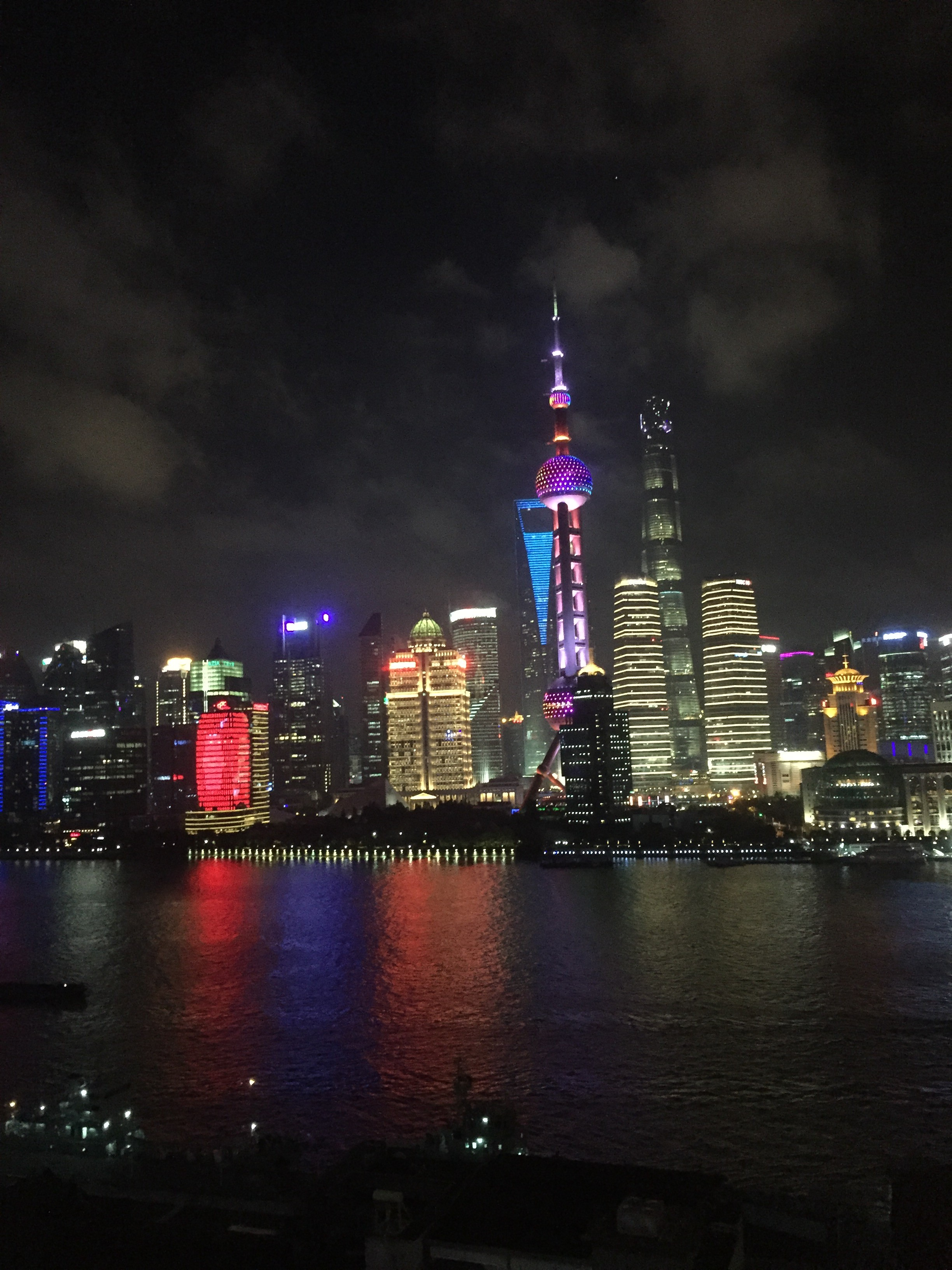 the dazzling nighttime cityscape at Shanghai on The Bund