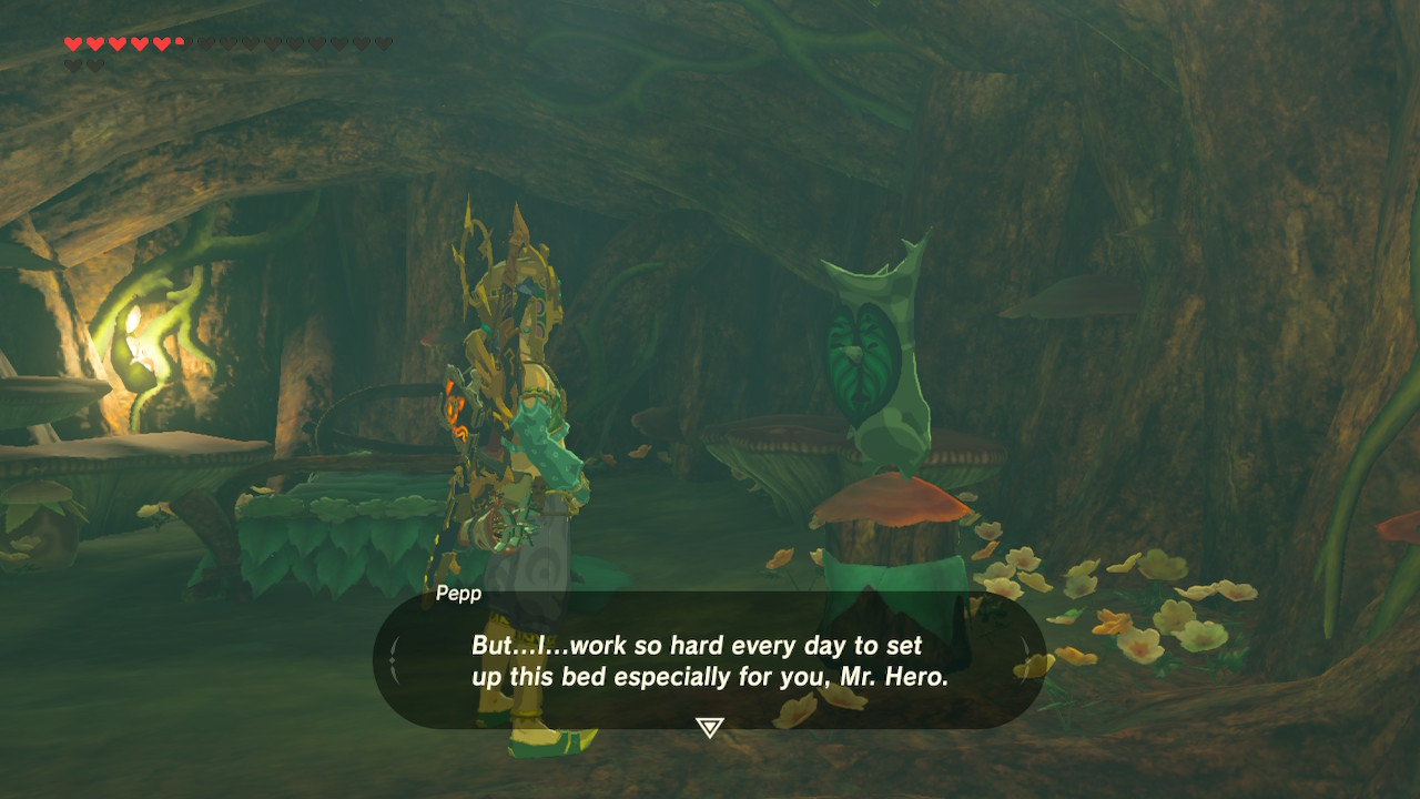 This korok broke my heart saying he made this bed for Link