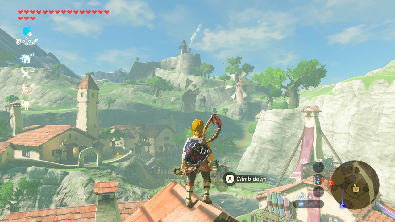 link botw hateno village green mountains and grass