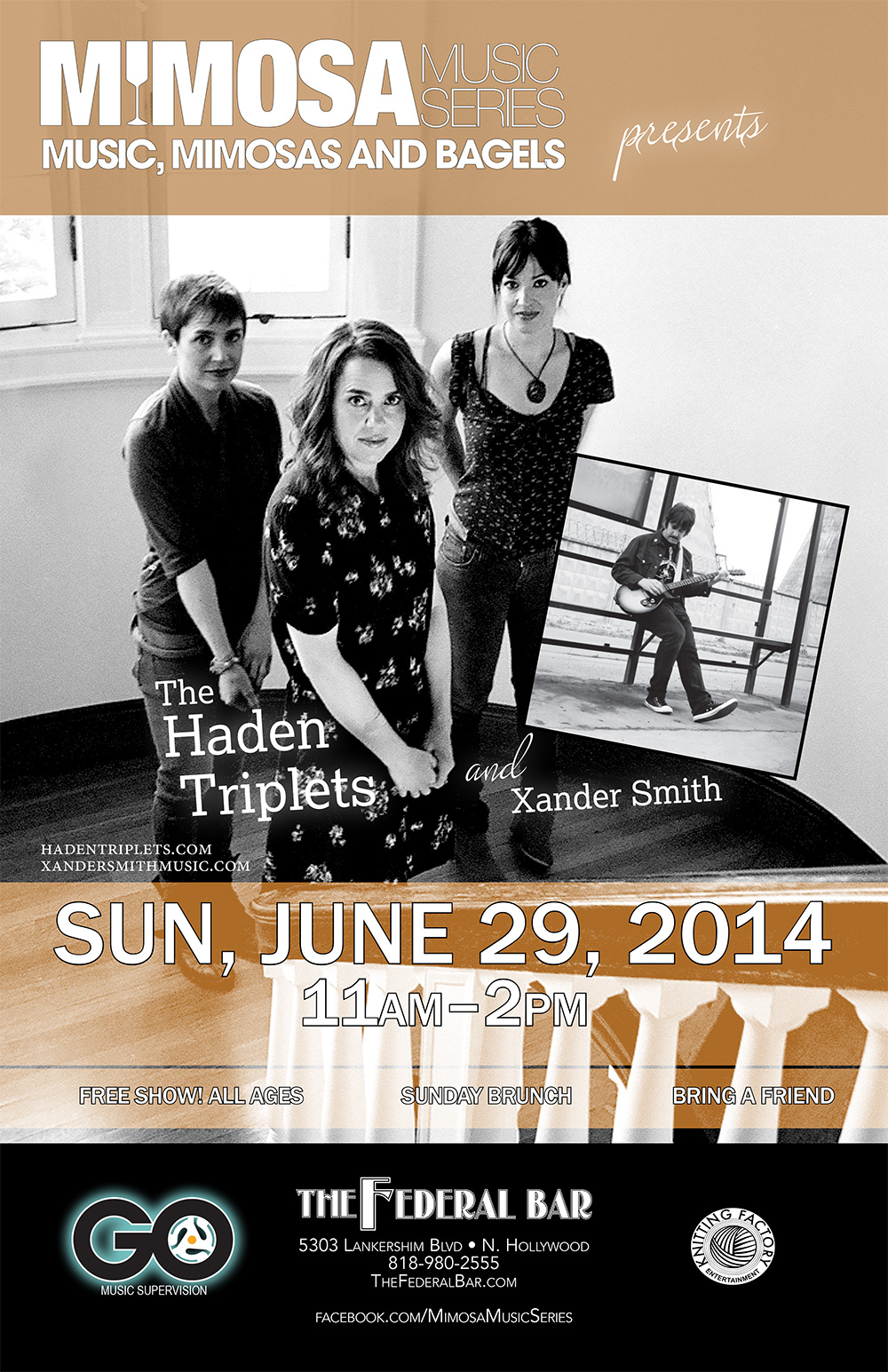 XANDER SMITH WITH THE HADEN TRIPLETS SHOW THIS SUNDAY!