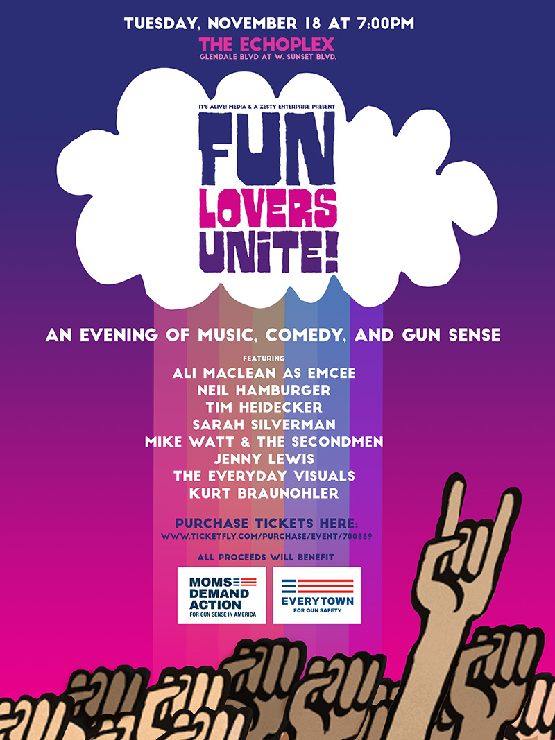 Friends! My Fun Lovers Unite Event in LA With Jenny Lewis, Sarah Silverman, Tim Heidecker, Mike Watt, Kurt Braunohler, Neil Hamburger & The Everyday Visuals on Nov. 18!