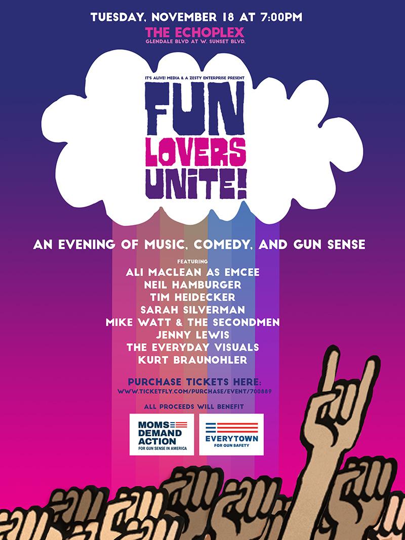 Friends! My Fun Lovers Unite Event in LA With Jenny Lewis, Sarah Silverman, Tim Heidecker, Mike Watt, Kurt Braunohler, Neil Hamburger & The Everyday Visuals on Nov. 18!