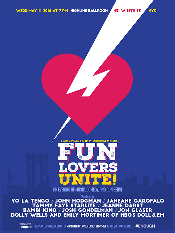 MUSIC & COMEDY NEWS: Yo La Tengo, Doll & Em, Janeane Garofalo & Jon Glaser Added to May 11 Brady & Fun Lovers Unite at NYC's Highline Ballroom