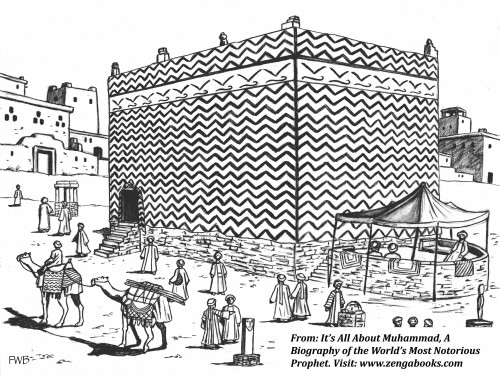 """THE KABAH IS THE NAME used for the temple of Mecca. It means """"Cube,"""" a nickname it acquired in A.D. 605 after it was rebuilt because of flood damage. Muhammad, who was at that time thirty-five years old, was part of the work crew. Prior to the reconstruction, the temple consisted of a one-story rectangular wall without a roof. The original temple, which was devoted to moon worship, began several centuries earlier as a low-wall enclosure of stacked rocks with the Black Stone meteorite inserted in one corner."""