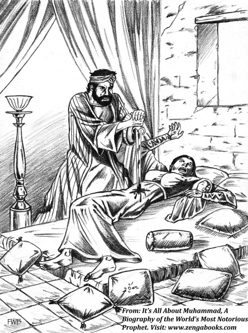 THE MURDER OF ASMA, the daughter of Marwan. Muhammad wanted her dead because of a poem she composed criticizing the tribes of Yathrib for failing to retaliate against him after he assassinated an elderly sheikh who had composed satirical verses about him. The assassin Muhammad recruited at the mosque broke into her home late at night and plunged his sword into her while she slept with her five children, including a newborn. Only the infant is depicted here.