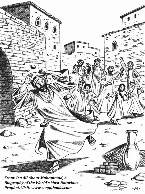CHASED OUT OF TAIF. Muhammad fled to neighboring Taif when it became unsafe for him in Mecca. He attempted to convert the people of Taif to his religion and convince them to take up his cause. The leaders at first listened politely to him, but when they understood he wanted to involve them in his conflict with the Meccans they ran him out of town.