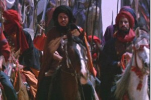 A Muslim horde hellbent on conquest approaches a castle defended by knights.
