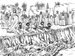 Muhammad beheaded 900 men and boys of a Jewish tribe of Yathrib (Medina) following a battle with his Meccan enemies during which the Jews agreed to fight with the Meccans against him, but then changed their minds. Muhammad used this as a pretext to kill all the men and adolescent boys, seize all the property of the tribe, and enslave the women and children. He forced one of the prettiest girls of the tribe to become part of his harem as a sex slave. His real motive for these barbarous acts was vengeance against the Jews for refusing to accept him and his religion.
