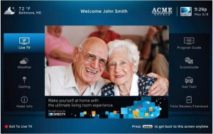 DIRECTV DRE Welcome Screen Example for Assisted Living and Long-term Care Facilities