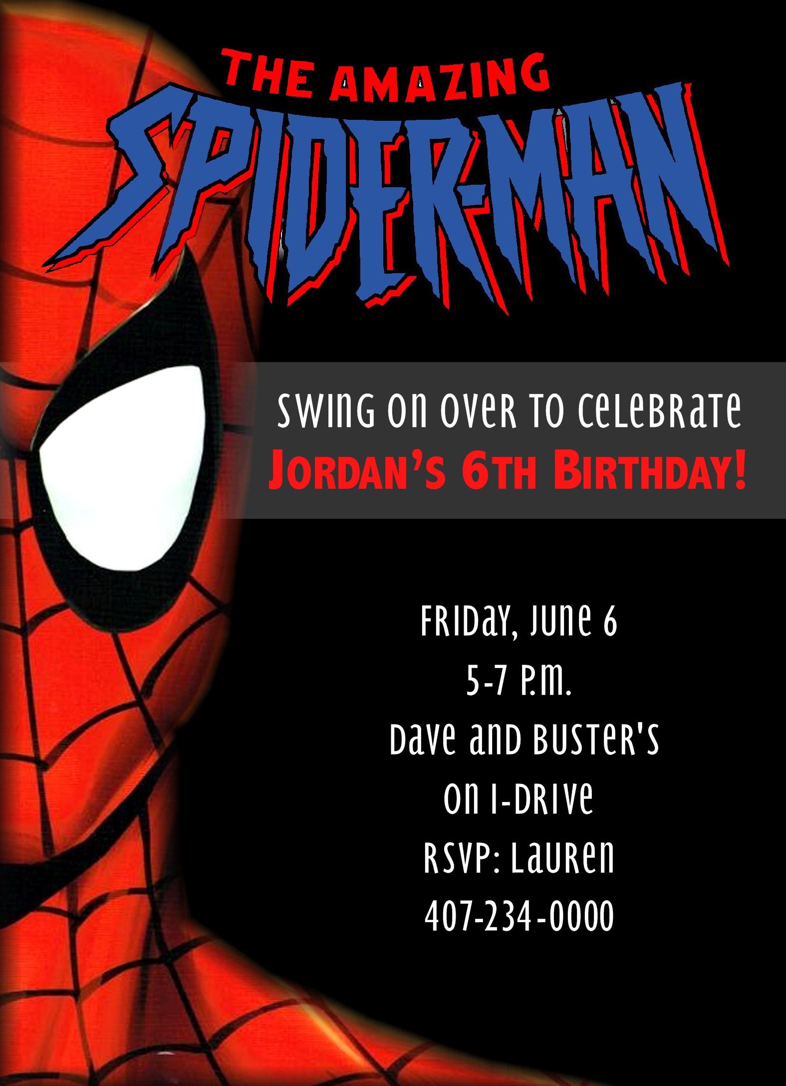 spiderman party birthday invitation