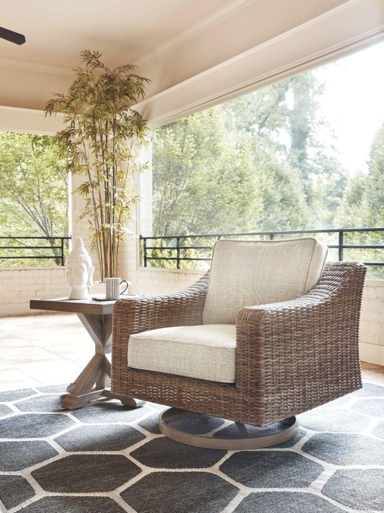 Beachcroft - Beige - Swivel Lounge Chair (1/CN) - EZ ... on Beachcroft Beige Outdoor Living Room Set  id=98901