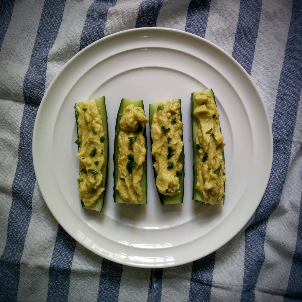 Avocado Hummus Cucumber Boats