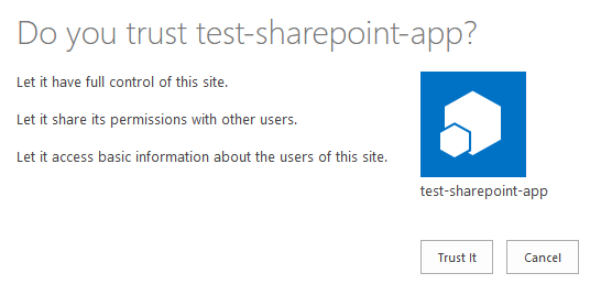 Trust SharePoint app permissions