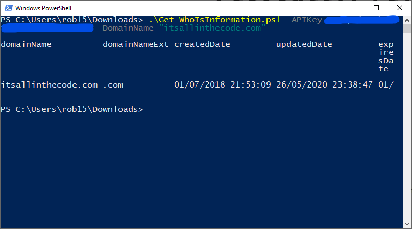 powershell whois domain information