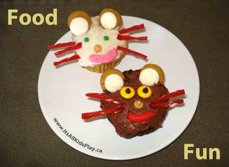 Food Fun for Kids--Decorated Cupcakes to look like Mice