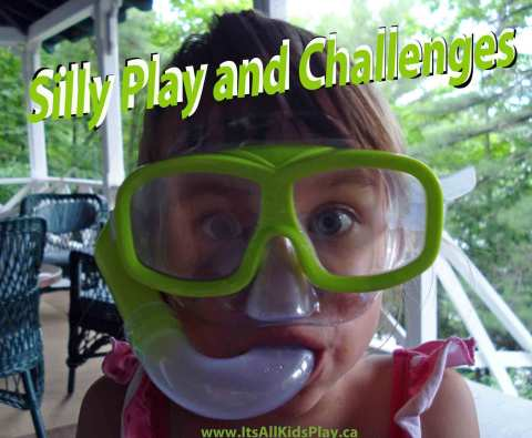 Silly Play and Challenges for Kids - picture of child wearing snorkling gear on land.