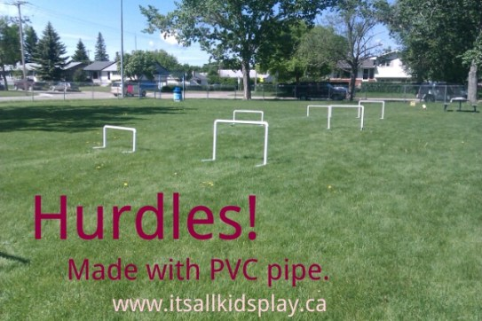 Hurdles made with PVC pipe for kids