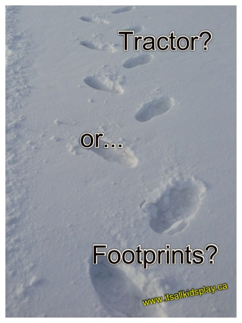 snow prints footprints or tractor prints