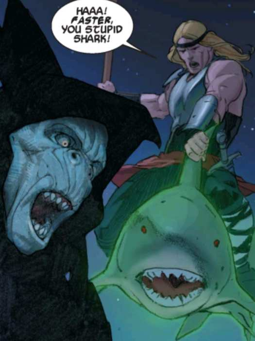 Thor rides a Space Shark into battle against Gorr The God Butcher