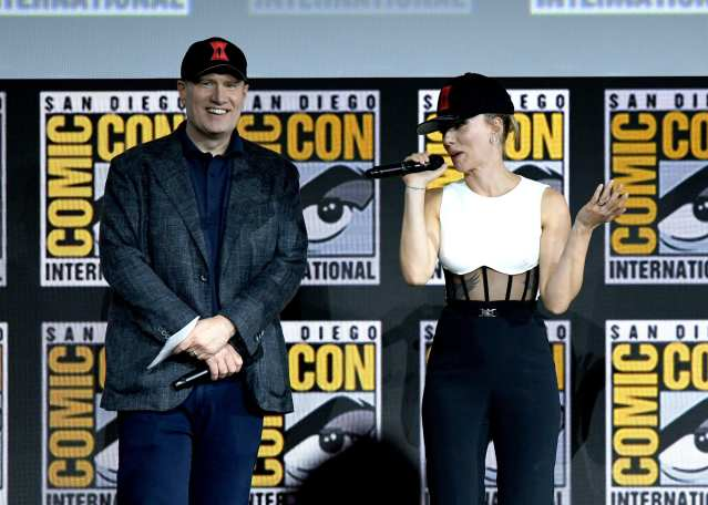 Kevin Feige and Scarlett Johanssonn at Comic-Con in 2019