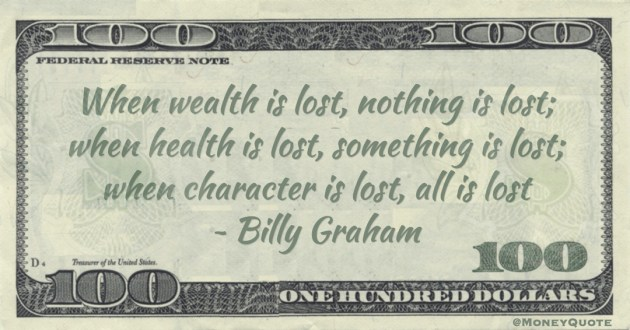 When wealth is lost, nothing is lost; when health is lost, something is lost; when character is lost, all is lost Quote