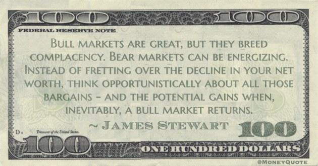 Instead of fretting over the decline in your net worth, think opportunistically about all those bargains - and the potential gains when, inevitably, a bull market returns Quote