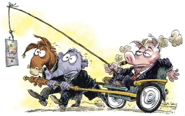 Political Corruption Carrot & Stick by Daryl Cagle of CagleCartoons.com