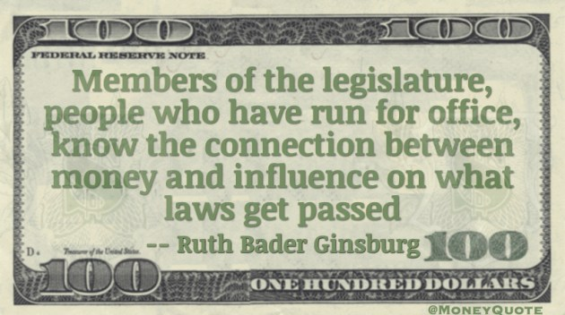 People who have run for office know the connection between money and influence on what laws get passed Quote
