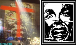 "Left: Green Day's set, Right:  Derek Setzer's ""Scream Icon"""