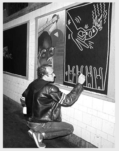Keith Haring chalk subway drawing.