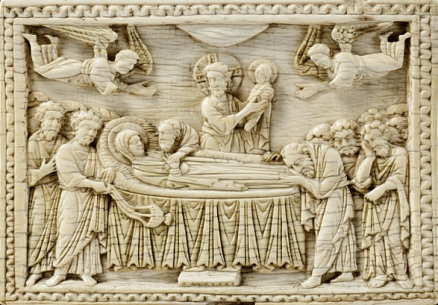 Byzantine ivory relief, Death of the Virgin (around 1000). Photo: © Worcester Art Museum, all rights reserved.