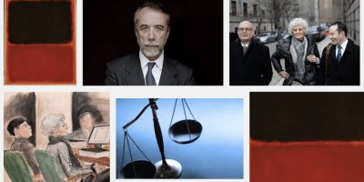 Images related to the DeSole v Knoedler trial, including reproduction of the fake painting and portraits of parties in the case.