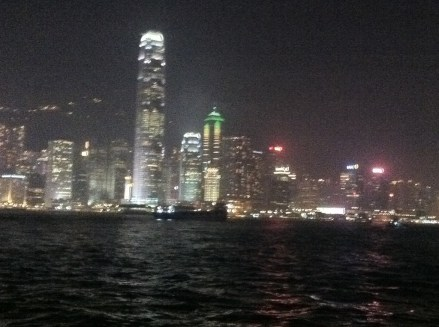 Hong Kong night view from The Avenue of Stars (you can see the tallest building)
