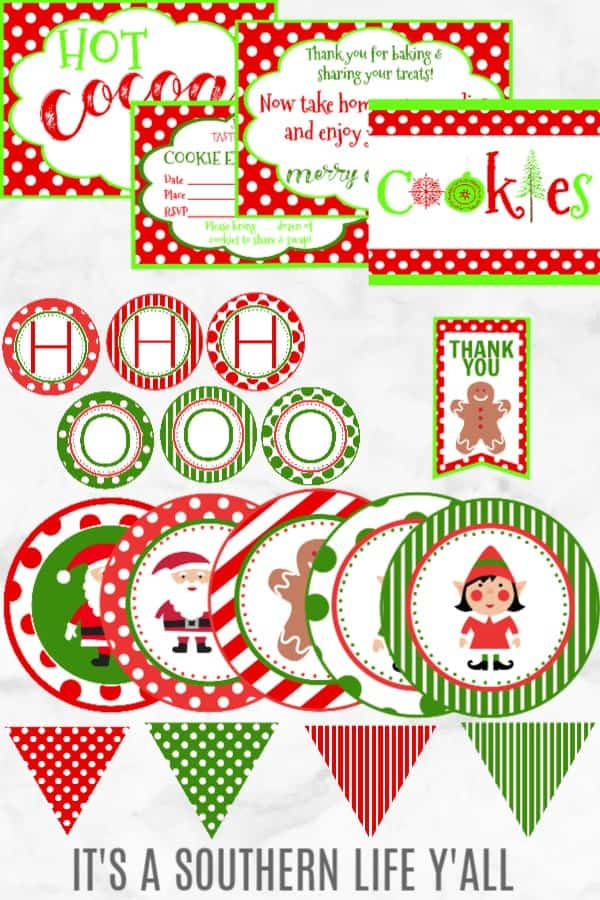 Everything you need to host a cookie exchange. A complete party package including printables, invitations, cookie card tents, banners, and so much more.