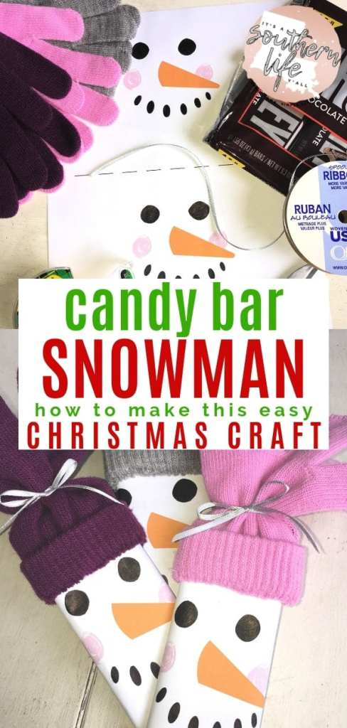 How to make an easy Snowman Candy Bar Christmas gift craft with free printable template.