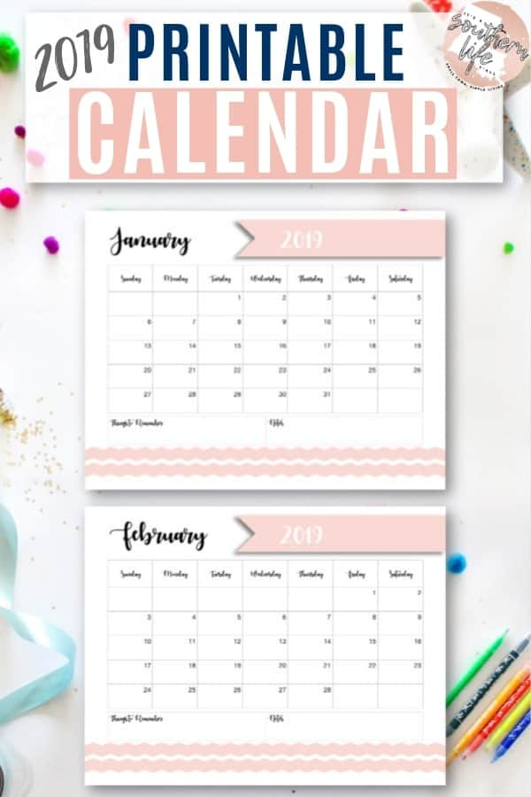 This free 2019 printable calendar can help you organize your schedule, set goals, remember birthdays and holidays, plan for the future, and so much more! #freeprintable #freeprintables #monthlycalendar #2019calendar #printablecalendar