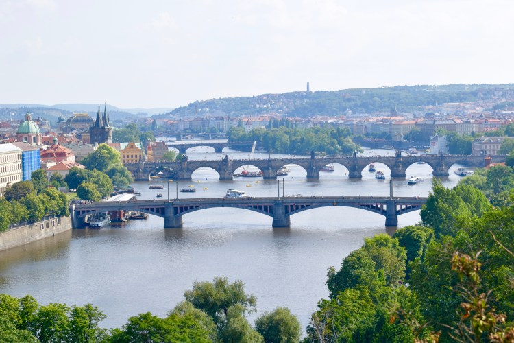 view of prague bridges from letna park