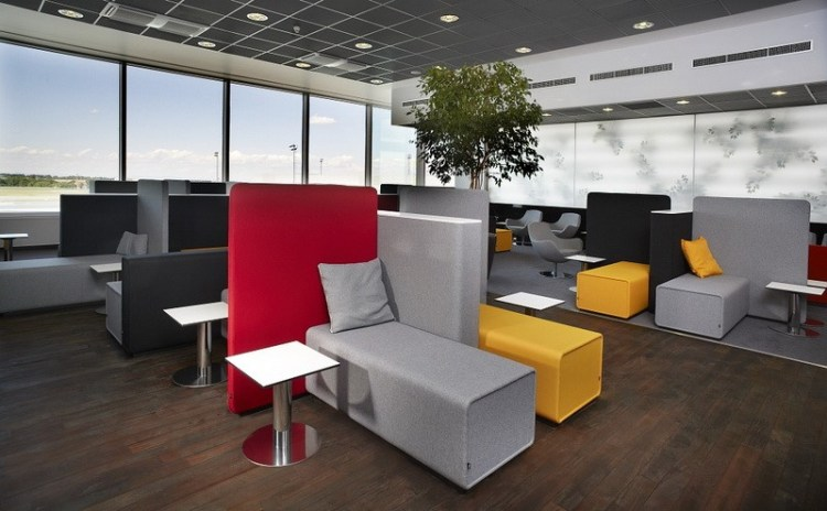 Mastercard lounge at Prague Airport comfortable seating