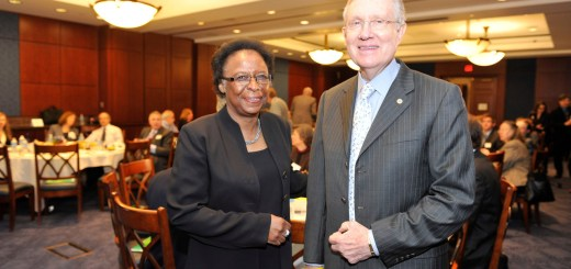 Harry Reid and Cora Marrett chat.