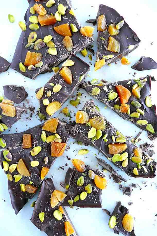 Apricot and pistachio holiday bark