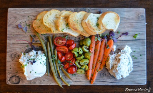 A cheese and vegetable board at Seasons Plant-Based Bistro in Salt Lake City